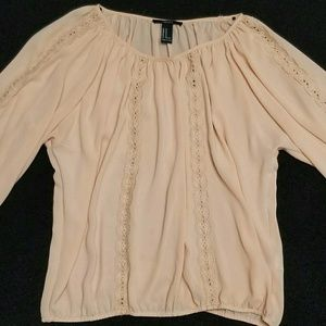 NWOT Flowy Peach Pink Blouse F21 lace ribbon trim